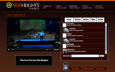 embed live church streaming